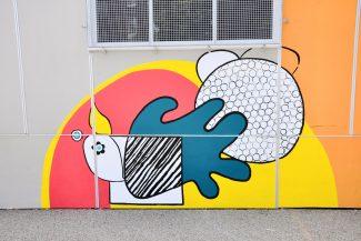 Ecole décorée par un artiste et les élèves