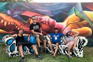 Les membres du Ashop Crew à Wynwood Walls à Miami (2018) - Fluke, Zek, Ankhone et Dodo Ose - Crédit photo : Ashop Productions